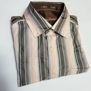 Tommy Bahama Orange Striped Dress Shirt w/ Leaves